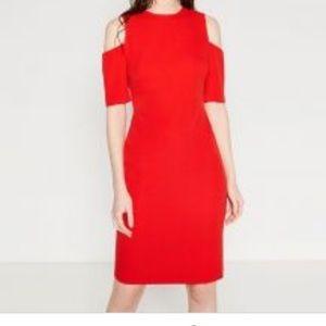 Zara red cold shoulder sheath dress